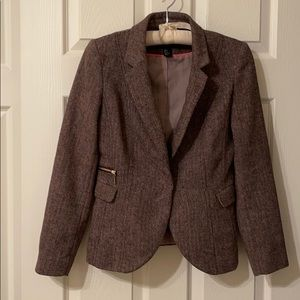 H&M Brown and Pink Tweed Blazer Size 8